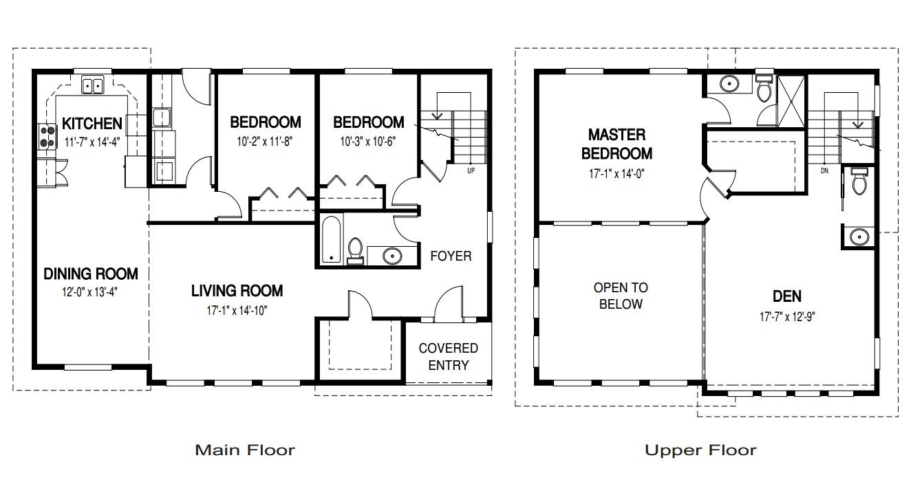 Planos de casas de dos plantas for Dimensiones arquitectonicas