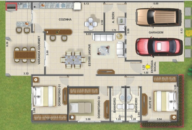 Planos de casas de una planta for Planos de casas de campo de 3 dormitorios