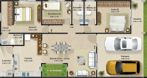 Planos de una casa for Planos de casas de dos pisos con medidas y fachadas