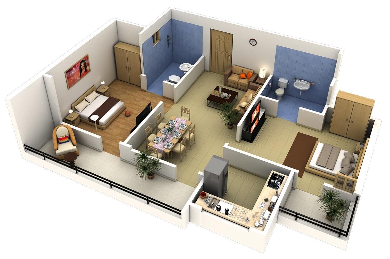 Planos de departamentos for Fachadas para departamentos pequenos